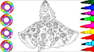 disney u0027s barbie rainbow dress coloring sheet coloring pages