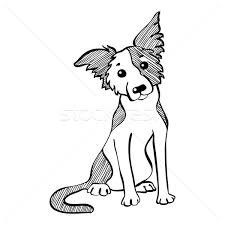 vector sketch funny border collie dog sitting vector illustration