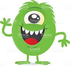 happy little green oneeyed monster alien character stock vector