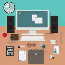 Office Desk Essentials Office Desk With Work Essentials Vector Design Stock Vector