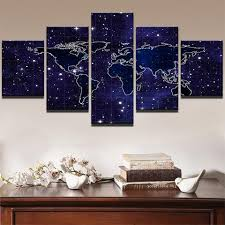 Decorative World Map Modular Painting Wall Art Pictures Modern Canvas Poster Frame 5