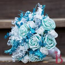 theme wedding bouquets frozen blue and white winter bouquet 8 5 winter