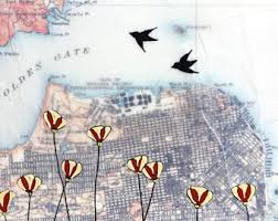 san francisco map painting west seattle map painting with birds on wire seattle