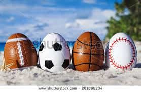 sports easter eggs sport eggs on symbol stock photo 261098234
