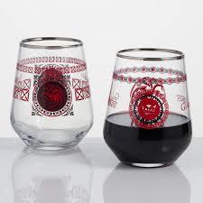 game of thrones wine glasses game of thrones targaryen stemless wine glass set of 2 world market