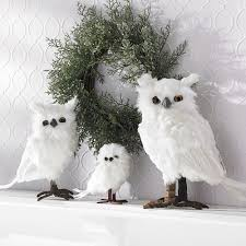 small white feather owls decorations co uk