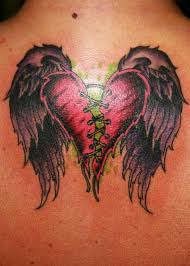two hearts sewn together tattoo winged sewing broken heart 2