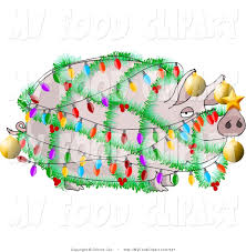 food clip art of a plump pig decorated with christmas lights and