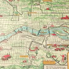 Map Wrapping Paper Vintage Portland Map Gift Wrap Sheet By Cavallini U0026 Co
