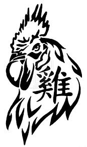 black tribal rooster design