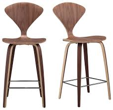 Bar Stool Sets Of 2 Manta Modern Walnut Wood Bar Stools Set Of 2 Modern Bar