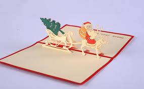 5pcs lot 3d pop up gift card diy drawing christmas card santa