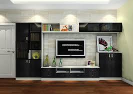 italy living room black tv cabinet with brick wallpaper interior