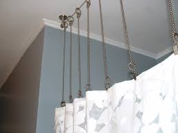 shower curtain rod with chains instead after bathroom with gray walls custom curtain