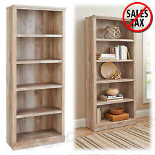 Wooden Bookshelf Wood Bookshelf Bookcase W 5 Shelving Storage Adjustable Office