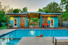 blue wall modern cabin homes with prices with modern pool can add