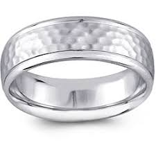 mens hammered wedding bands 14k white gold men s hammered design comfort fit wedding band 6 5