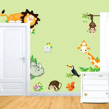 Nursery Monkey Wall Decals Baby Jungle Wallpaper Nursery Baby Jungle Animals Owl And Monkey