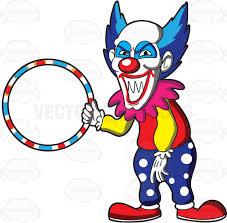 creepy clipart a scary looking clown holding a hula hoop cartoon clipart vector