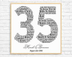 35 anniversary gift personalized 12th anniversary gift word printable