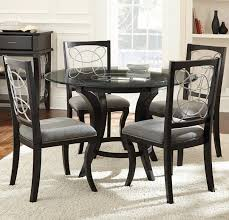 Silver Dining Chairs Steve Silver Cayman 5 Piece Glass Top Dining Set Wayside