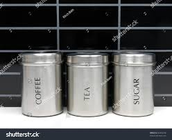 tea coffee sugar canisters on kitchen stock photo 56363746