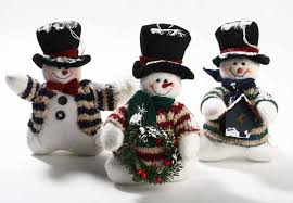 set of 3 plush snowmen ornaments table decor