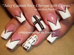 nail art design crosses nail art black and white chevron long