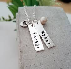 necklace with kids names custom bar charms name necklace two names personalized jewelry