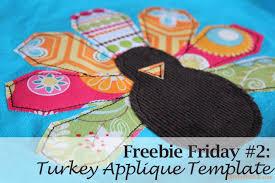 freebie friday 2 turkey applique template link shybydesign