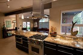 granite kitchen eclectic with black cabinets