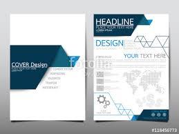 blue fold cover business brochure vector design leaflet