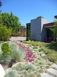 bush hammered concrete landscape contemporary with tall grass