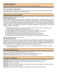 Pc Technician Resume Desktop Support Technician Resume Resume Templates
