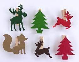 Green Reindeer Christmas Decorations by Clothespin Reindeer Etsy