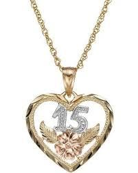 gold necklace womens images Deal alert 14k gold tri tone quot 15 quot quinceanera heart pendant