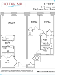 den floor plan 2 bedroom apartments with den at cotton mill