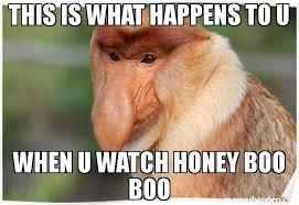 Honey Meme - this is what happens to u when u watch honey boo boo meme monkey
