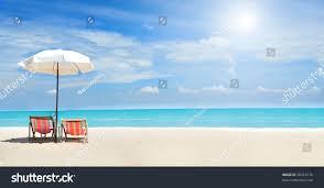 Clip On Umbrellas For Beach Chairs Beach Chairs On White Sand Beach Stock Photo 98418176 Shutterstock