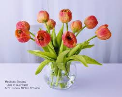 Home Decor Silk Flower Arrangements Orange Tulip Tulips Silk Floral Arrangement Faux Water