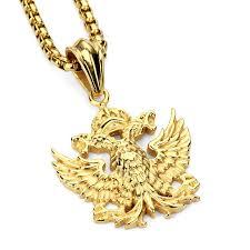 aliexpress buy nyuk new fashion american style gold nyuk new steel pendant necklace russian headed eagle