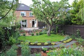 traditional garden design with a twist and a mature apple tree