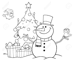 outlined friendly snowman with a cute birds and christmas tree
