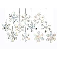 kurt adler 2 glass iridescent snowflake ornaments 12