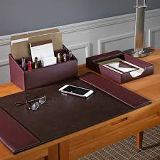 Leather Desk Organizers Bomber Jacket Desk Set Three Pieces Leather Desk Accessories