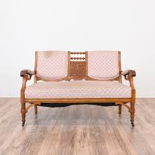 Rustic Wooden Couch This Antique Eastlake Settee Is Featured In A Solid Wood With A
