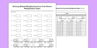 deriving related multiplication facts known facts multiples