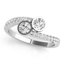 two diamond ring diamond pave accented bezel set two ring 14k white gold 1 17ct