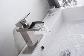eyekepper nickel brushed waterfall bathroom sink vessel faucet