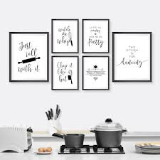 black and white prints for kitchen kitchen typography wall canvas painting black white